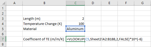 Using Excel VLOOKUP to Pull Tabular Data into Calculations