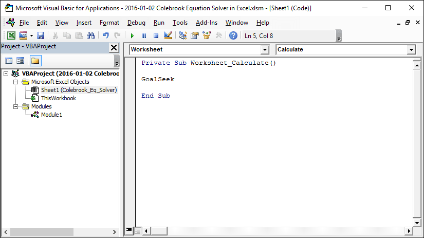 Colebrook Equation Solver In Excel Engineerexcel. Let's Add Some Code To This Worksheet In The Vba Editor So That Macro Runs Every Time There Is A Change Eg Someone Changes An. Worksheet. Worksheet Goalseek Vba At Mspartners.co