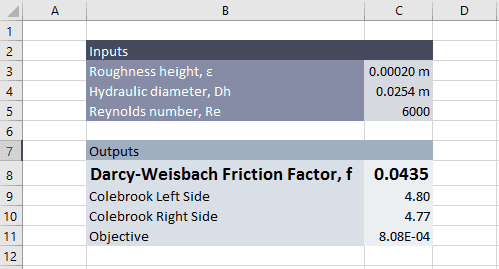 Colebrook equation solver in excel engineerexcel automating goal seek with vba ccuart Choice Image