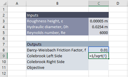 Colebrook equation solver in excel engineerexcel similarly the right side of the equation is entered into cell c10 ccuart Gallery