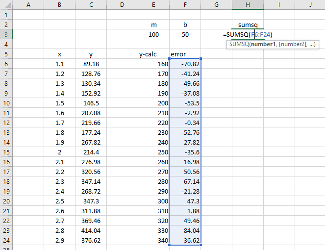 how to create a linear regression line in excel