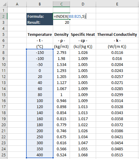 Using Excel's INDEX and MATCH Functions to Look Up Engineering Data