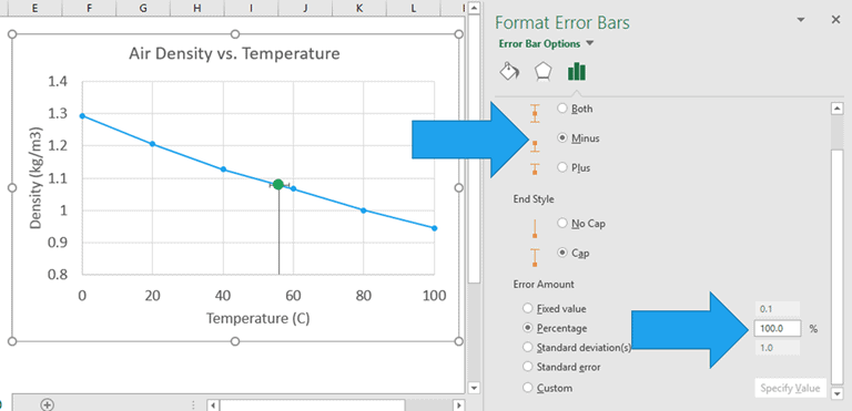 how to get y error bars in excel