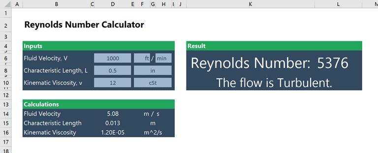 reynolds number calculator in excel